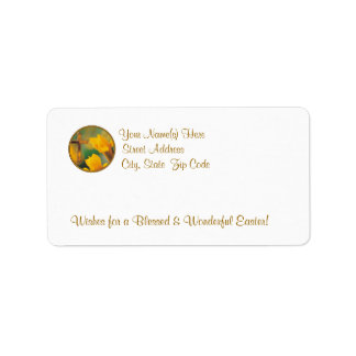 Awesome Yellow-Gold Lily With Dew Return Address Address Label