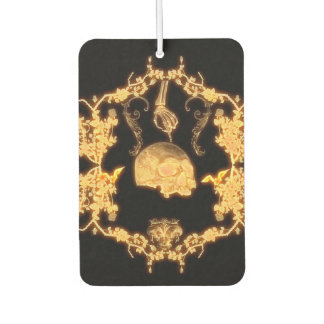 Awesome yellow skull with flowers air freshener