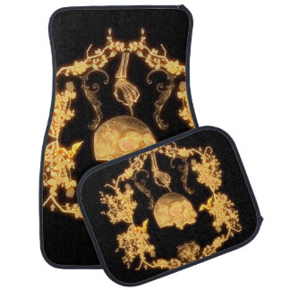 Awesome yellow skull with flowers car floor mat