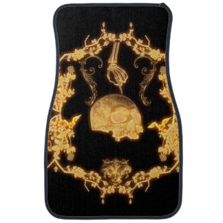 Awesome yellow skull with flowers car mat