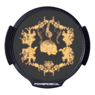 Awesome yellow skull with flowers LED car decal