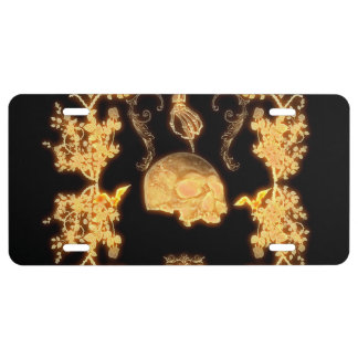 Awesome yellow skull with flowers license plate