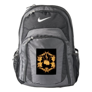 Awesome yellow skull with flowers nike backpack