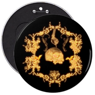 Awesome yellow skull with flowers pinback button