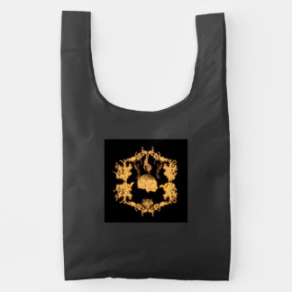 Awesome yellow skull with flowers reusable bag