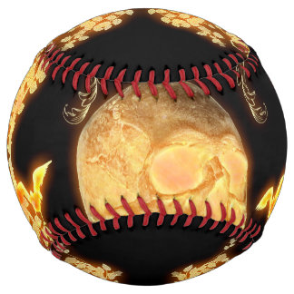Awesome yellow skull with flowers softball