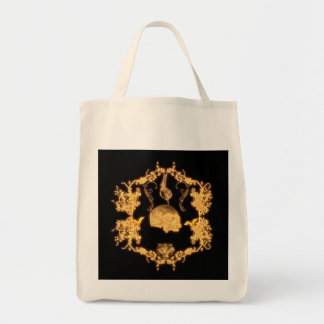 Awesome yellow skull with flowers tote bag