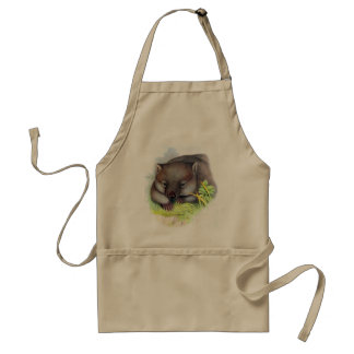 Awesomely cute Australian animal wombat vintage Adult Apron