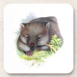 Awesomely cute Australian animal wombat vintage Beverage Coaster