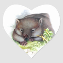 Awesomely cute Australian animal wombat vintage Heart Sticker