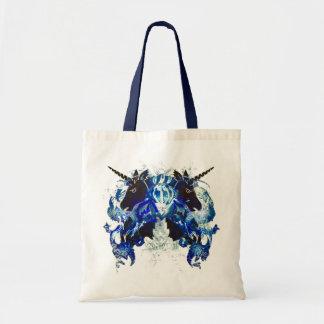 Awesomeness azul con unicornios bolsas de mano