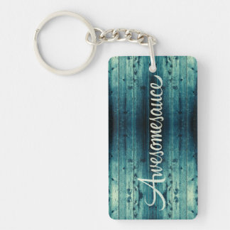 Awesomesauce Wood Panel Single-Sided Rectangular Acrylic Keychain