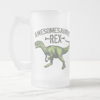 Awesomesaurus Rex Frosted Glass Beer Mug