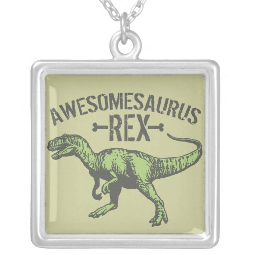 Awesomesaurus Rex Square Pendant Necklace