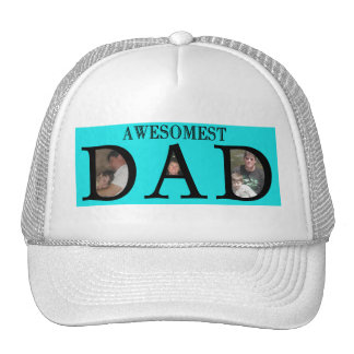 Awesomest Dad Fathers Day Add Your Pictures Logo Trucker Hat
