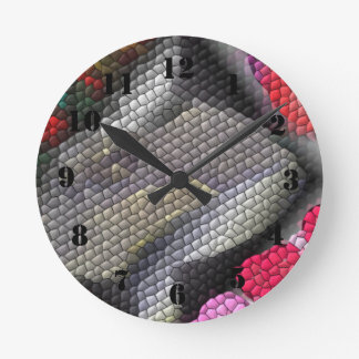 Awful colorful tiles round clock