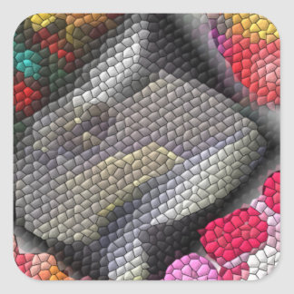 Awful colorful tiles square sticker