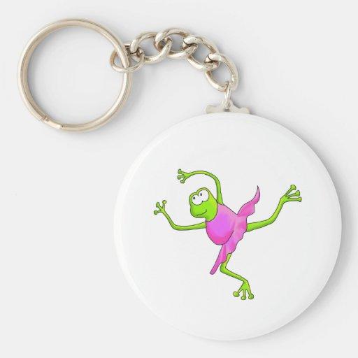 Awkward Ballet Frog Basic Round Button Keychain