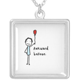 Awkward balloon square pendant necklace