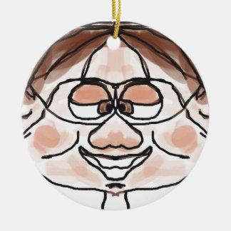 Awkward Boy Double-Sided Ceramic Round Christmas Ornament