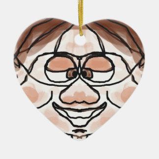 Awkward Boy Double-Sided Heart Ceramic Christmas Ornament