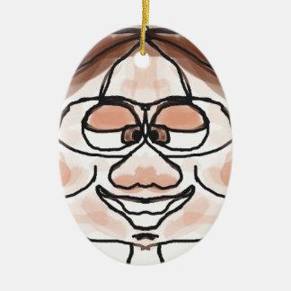 Awkward Boy Double-Sided Oval Ceramic Christmas Ornament