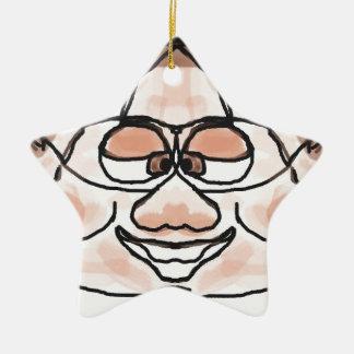 Awkward Boy Double-Sided Star Ceramic Christmas Ornament