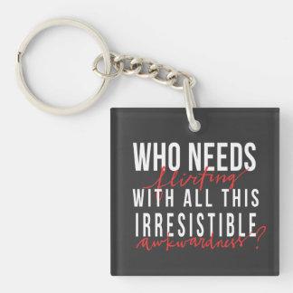 Awkward Flirting Single-Sided Square Acrylic Keychain