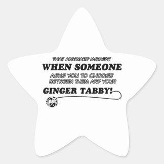 Awkward ginger tabby designs star sticker