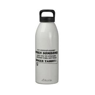 Awkward ginger tabby designs reusable water bottles