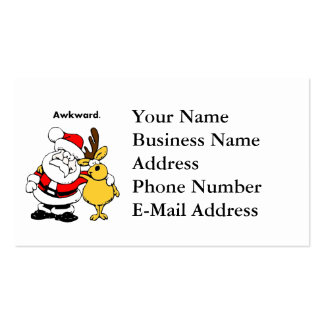 Awkward Santa and Reindeer Cartoon Business Card