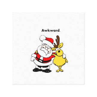 Awkward Santa and Reindeer Cartoon Canvas Print