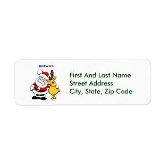 Awkward Santa and Reindeer Cartoon Label
