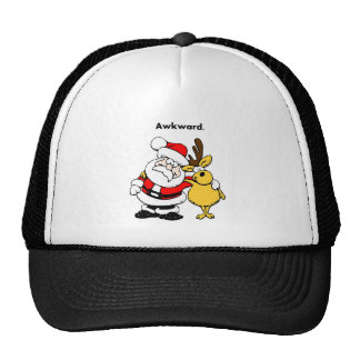 Awkward Santa and Reindeer Cartoon Trucker Hat