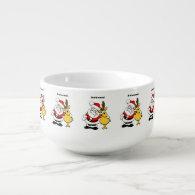 Awkward Santa and Reindeer Cartoon Soup Bowl With Handle