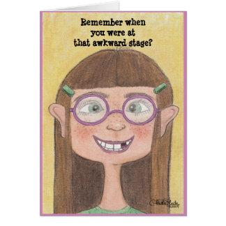 Awkward Stage Girl Greeting Card