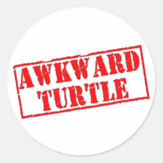 Awkward Turtle Stamp Round Stickers