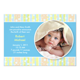 Awning stripe blue baby announcement