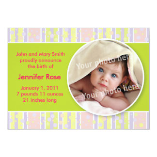 Awning stripe green baby announcement