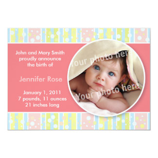 Awning stripe pink baby announcement