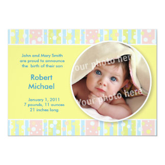 Awning stripe yellow baby announcement