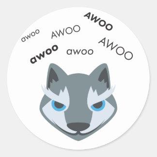 Awoo Wolf Cute Emoji Classic Round Sticker