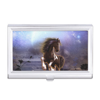 Awsome horse in the night business card case