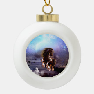Awsome horse in the night ceramic ball christmas ornament