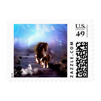 Awsome horse in the night postage