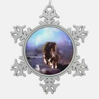 Awsome horse in the night snowflake pewter christmas ornament