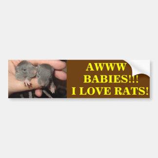 AWWW BABIES! RAT BUMPER STICKER