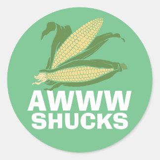 Awww Shucks Classic Round Sticker
