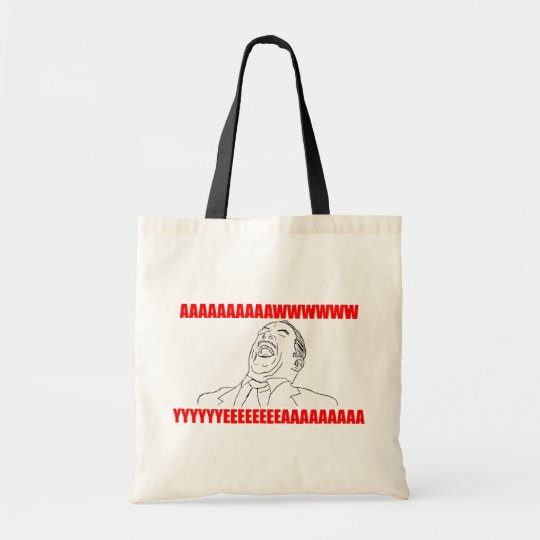 awwww yeah rage comic lol rofl tote bag
