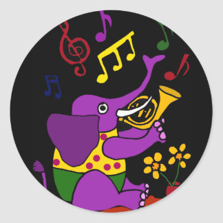 AX- Folk Art Elephant Playing French Horn Classic Round Sticker